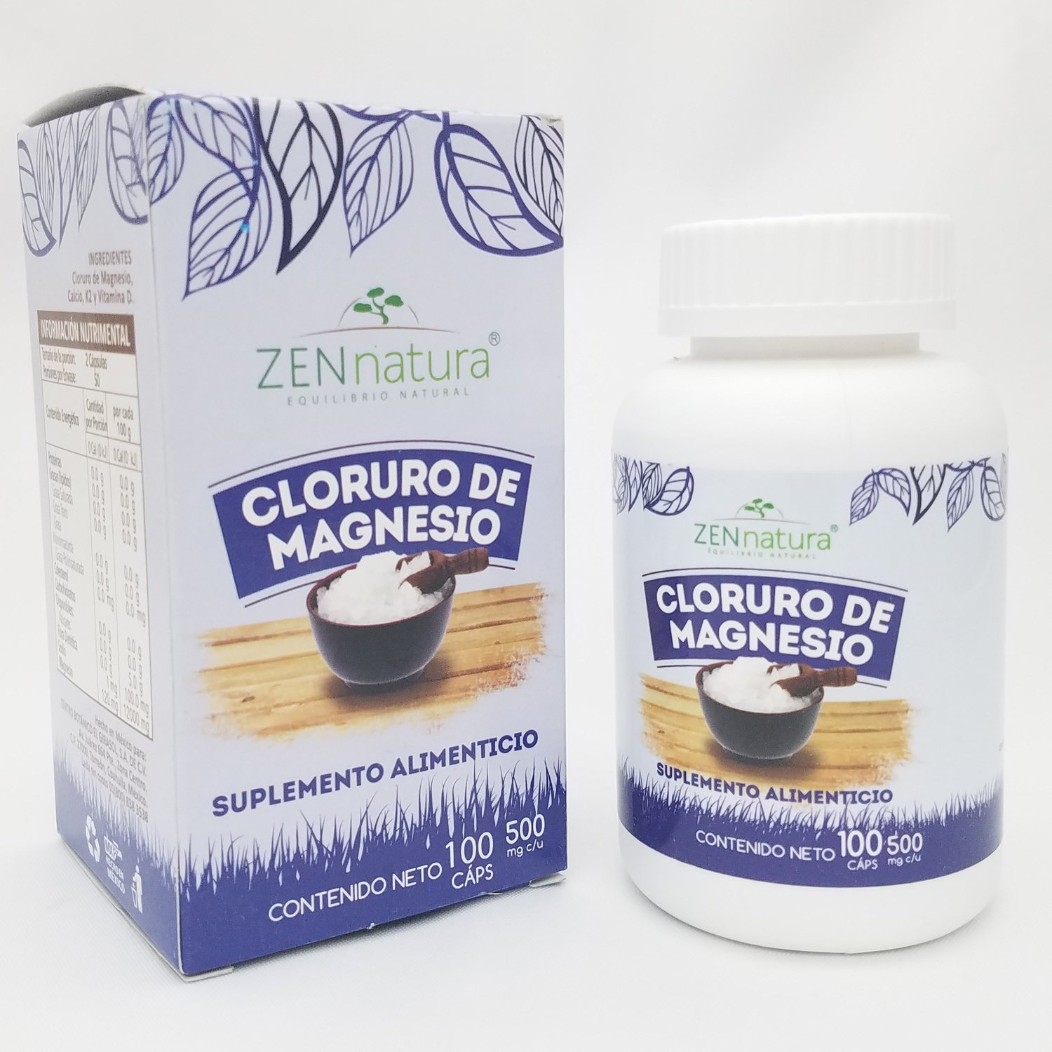 Amazon.com: Zen Natura Cloruro de Magnesio Capsulas, Magnesium Chloride caps, Bottle of 100 caps of 500mgs.: Health & Personal Care