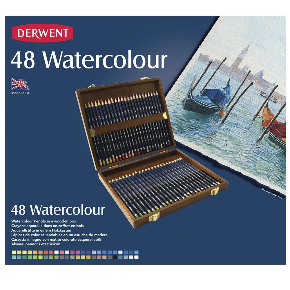 Derwent Watercolour Confezione da 48 Matite Colorate Idrosolubili in Scatola di Legno OfficeCentre 700758 reikos_0019522742AM_0045695