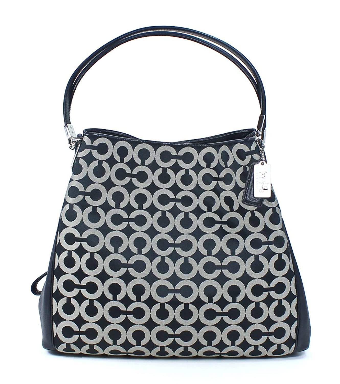 COACH Women's Madison Op Art Sateen Small Phoebe Silver/Black White/Black Shoulder Bag