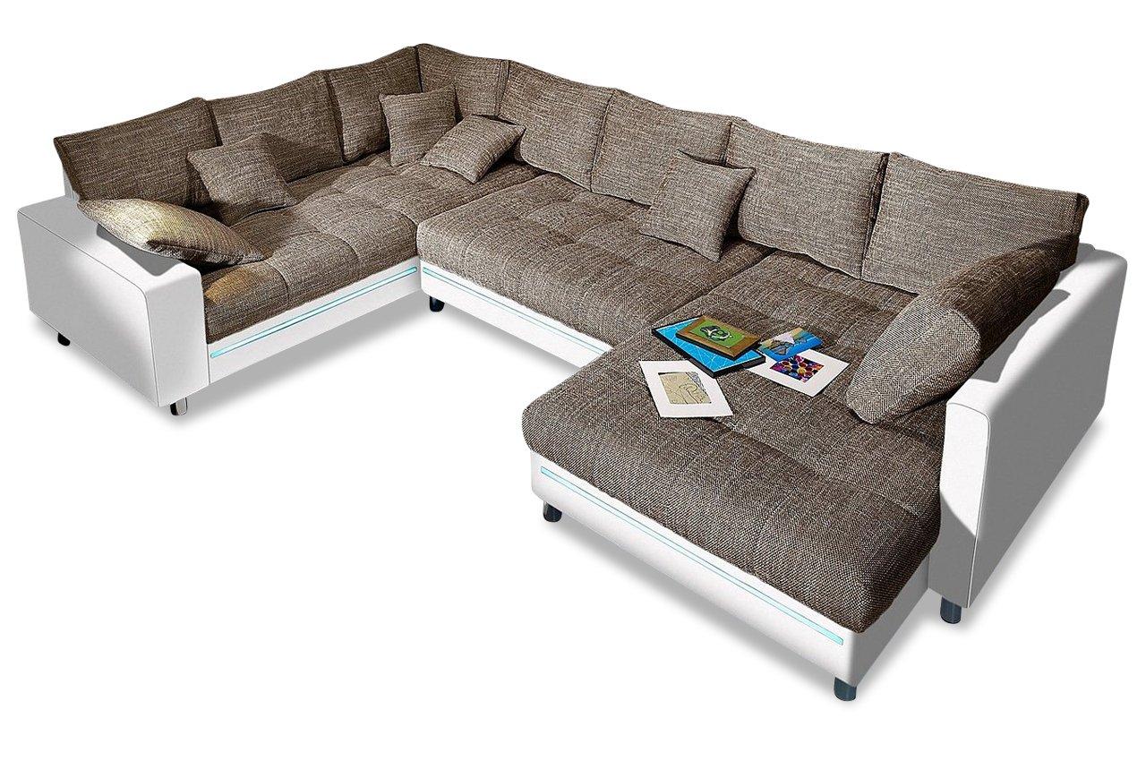 Sofa Couch Nova Via Wohnlandschaft Tobi Mit Led Braun Amazon De