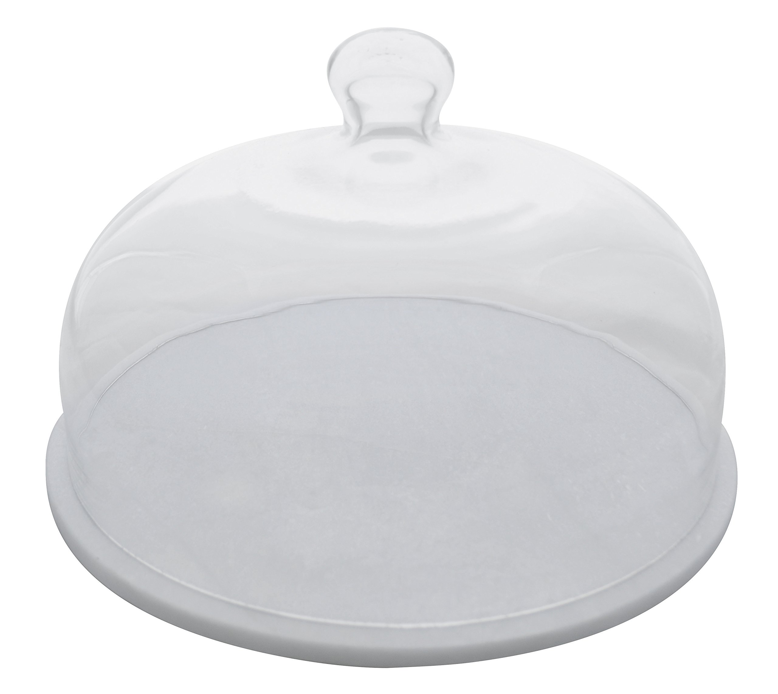 Paderno World Cuisine A4159130 Marble Glass Cloche Serving Board 11.875 White