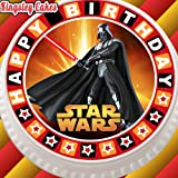pretagliato commestibile glassa topper per torta-19,1cm rotondo Star Wars Darth Happy Birthday
