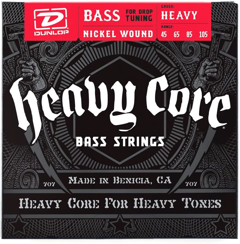 Dunlop DBHCN45105 Heavy Core Bass Strings, Heavy, .045–.105, 4 Strings/Set