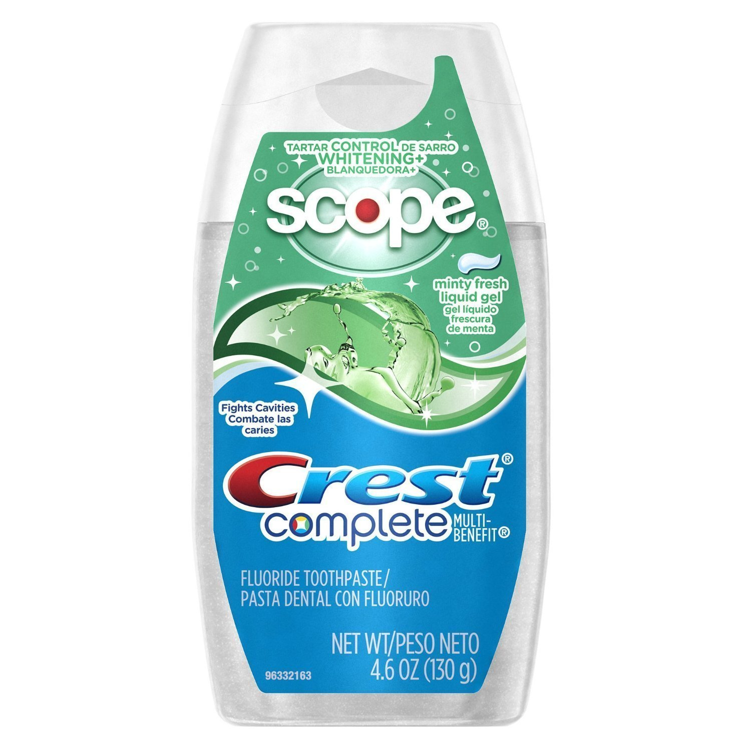Crest Complete Tartar Control Whitening Plus Scope Liquid Gel - Minty Fresh 4.6 Ounces (Pack of 3)