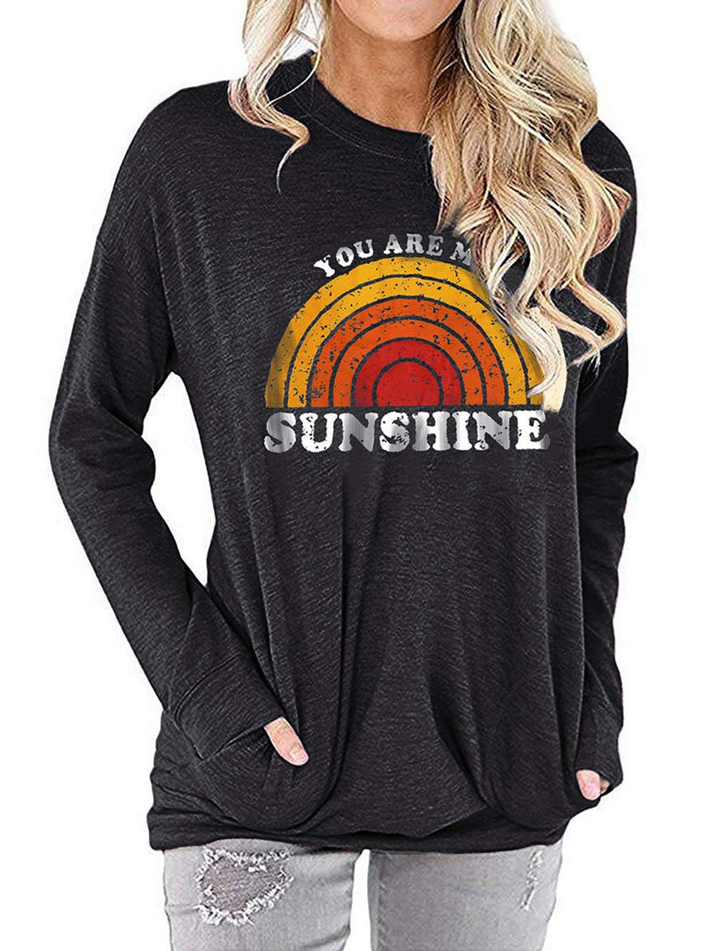 YASAKO Casual Graphic Sweatshirt for Women with Pocket Comfy Fit Lightweight Pullover Tee Shirts Letter Print Tops,B-Black,M