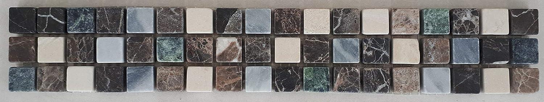 Grau und Gr/ün im Format von 30 x 10 cm Fliesen Naturstein Marmor Mosaik Bord/üre in Braun Creme
