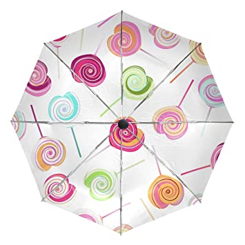 bennigiry resistente al viento paraguas de viaje Lollipops dulces AUTO abrir Cerrar Plegable fuerte compacto paraguas, mujer, Multi#002, talla única: ...