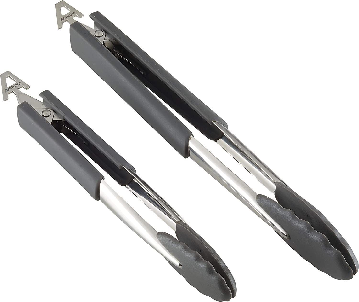 Anolon SureGrip Dishwasher Safe Nonstick Locking Cooking Tongs Set/Salad Serving Tools, 9 Inch and 12 Inch, Graphite Gray