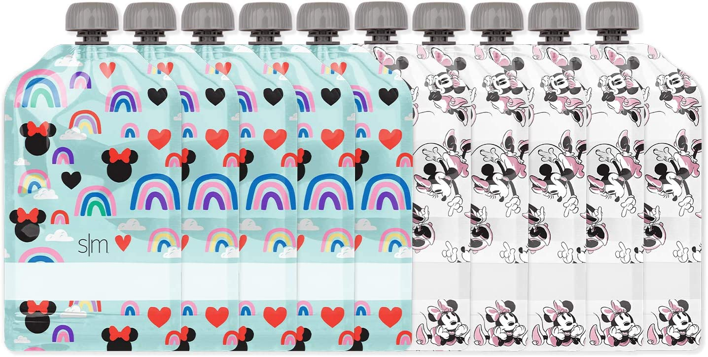 Simple Modern Reusable Food Pouches 10-Pack - Baby Food Storage Toddler Kids Squeezable Pouch Washable Freezer Safe, 5 Ounce, Disney: Minnie Mouse