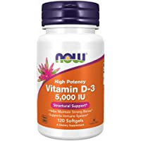 Now Foods Vitamin D-3, 5,000 IU, Softgels, 120ct