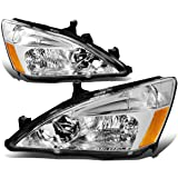 Pair of Chrome Housing Amber Corner Replacement Headlight Assembly Lamps Replacement for Honda Accord 03-07