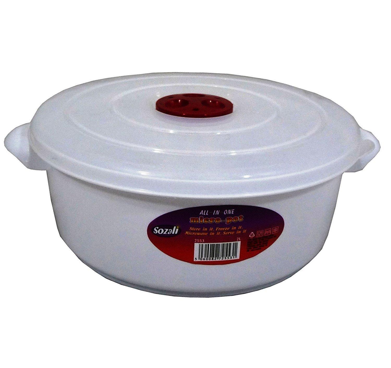 3 litre Microwave Pot Tub Ventilated Lid Heating Food Cooking  Dishwasher safe