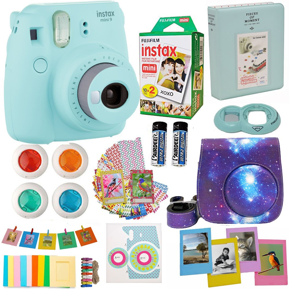 Fujifilm Instax Mini 9 Camera Ice Blue (USA) + Accessories kit for Fujifilm Instax Mini 9 Camera Includes Instant Camera + Fuji Instax Film (20 PK) Galaxy Case + Frames + Selfie Lens + Album and More by Abesons