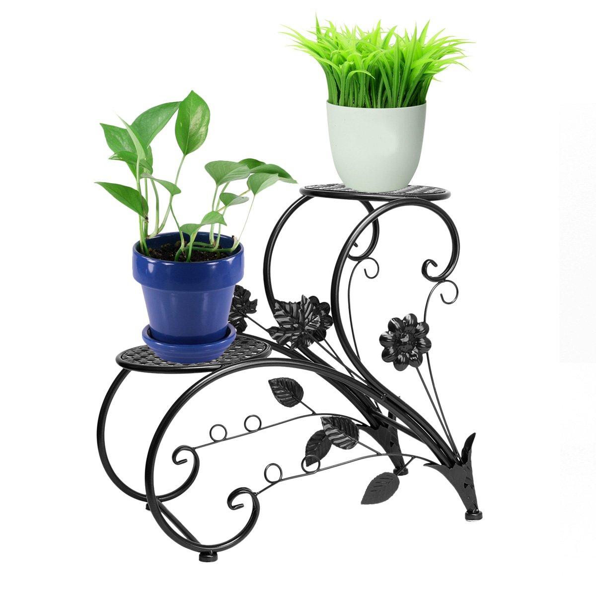Dazone Iron Flower Pot Rack Home Garden Patio Decor Display Stand Bonsai Holder