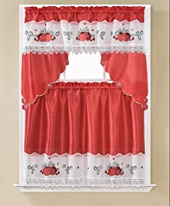 Apple Embroidered Kitchen Curtain Tiers & Swag Set Red-White, 60x36 & 30x36