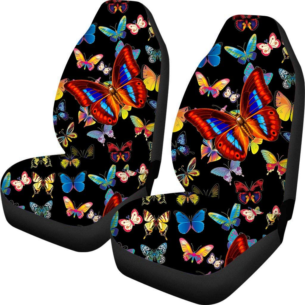 Coloranimal Fashion Butterfly Car Seat Covers Sucking Sweat Breathable Pet Cushion 2pc Auto Accessories Universal More Cars Protective Child Non-slip Pad