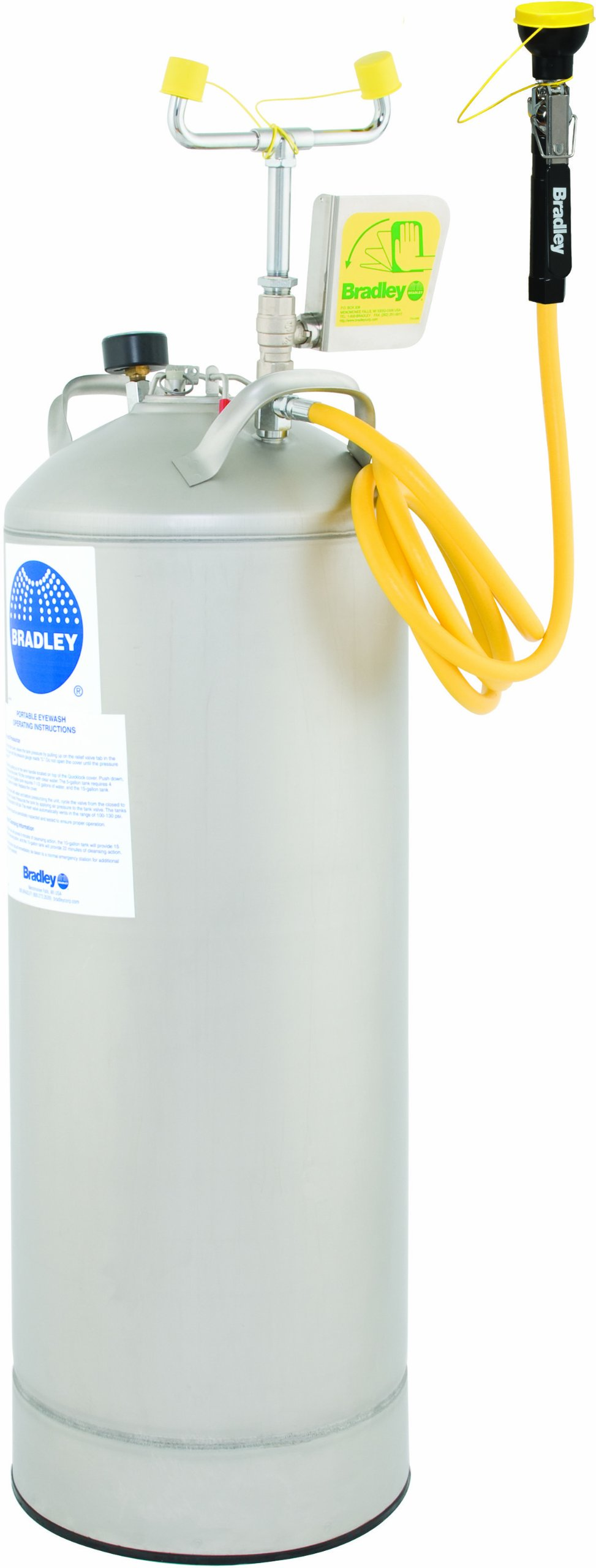 Bradley S19-788 15 Gallon Safety Portable Pressurized Eye/Face Wash Unit with Drench Hose, 0.4 GPM Water Flow, 12-1/4'' Width x 34'' Height