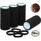 50gomas de pelo de algodón de alta calidad, color negro, ideal para el uso diario Goma elástica para el pelo, sin alambre, para mujeres y niñas.