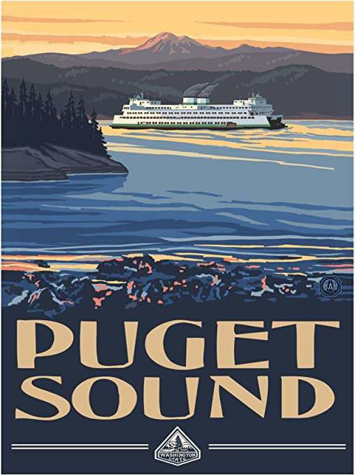 """Washington American Airlines 8.5/"""" x 11/""""  Travel Poster"""