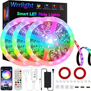 LED Strip Lights, Wrrlight Color Changing Rope Lights 49.2ft/15M SMD 5050 RGB Led Lights APP Bluetooth Controll LED Lights for Bedroom, Sync to Music Apply for Party and Home Decoration (3x16.4ft)