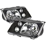 Pair of Black Housing Headlight Assembly w/Fog Lights Lamps Replacement for VW Jetta Bora A4 Typ 1J 99-05
