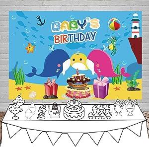 Leowefowa Baby Whale Underwater Backdrop 5x3ft Baby's Birthday Party Vinyl Photography Backgroud Under Sea World Aquarium Theme Cartoon Birthday Banner Baby 1st Birthday Celebration