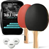 PRO SPIN Ping Pong Paddle Set - Includes 2 Performance Paddles/Rackets, 3 White Table Tennis Balls (3-Star), Premium Storage Case
