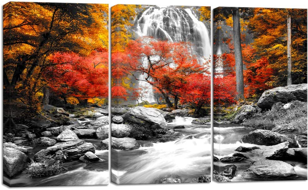 Visual Art Decor 3 Pieces Black White Red Canvas Wall Art Yellow Orange Trees Forest Waterfall Lake Picture Prints Nature Fall Scenery Paint for Modern Home Living Room Office Decoration (01, 12x24x3)