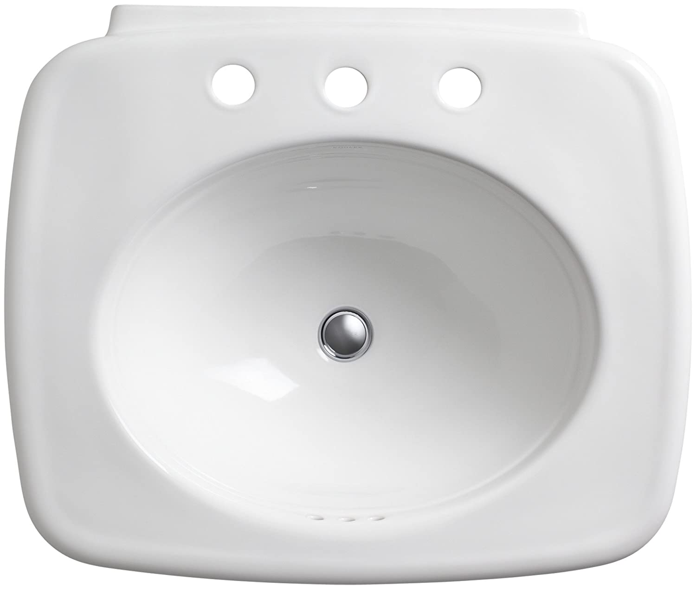 White KOHLER K-2338-8-0 Bancroft Pedestal Bathroom Sink with Centers for 8 Centers