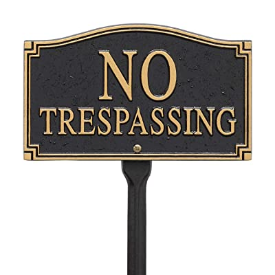 Whitehall Products No Trespassing Wall/Lawn Statement Plaque, Black/Gold: Home & Kitchen