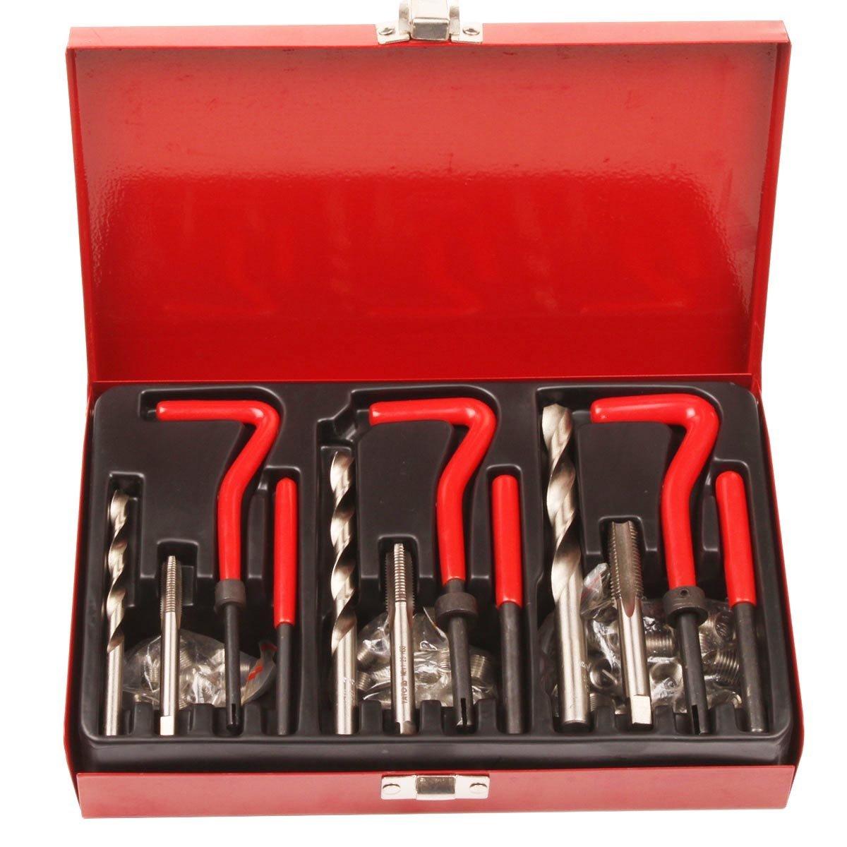 Qbace 88pc Thread Repair Kit Set Rethread M6 M8 M10 Damaged Threads Garage Tool