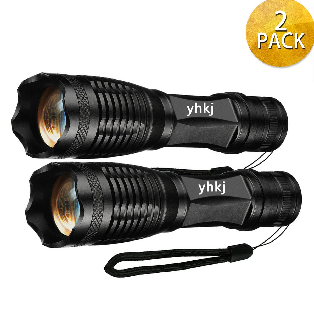 2000 Lumen Handheld Flashlight , Best Portable Tac light,Ultra Bright Outdoor Waterproof 18650 Torch , 5 Modes Zoomable -Suitable for Outdoor Sports Camping Emergency(2pc black) Yhkj