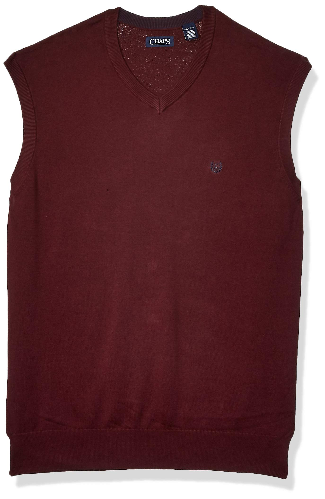 Chaps Men's Big and Tall Cotton V-Neck Sweater Vest, Rich Ruby, 3XB by Chaps