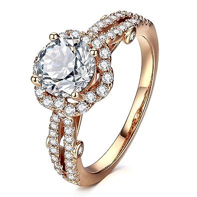 Amazoncom Allencoco Cubic Zirconia Ring 14k Rose Gold Plated Halo