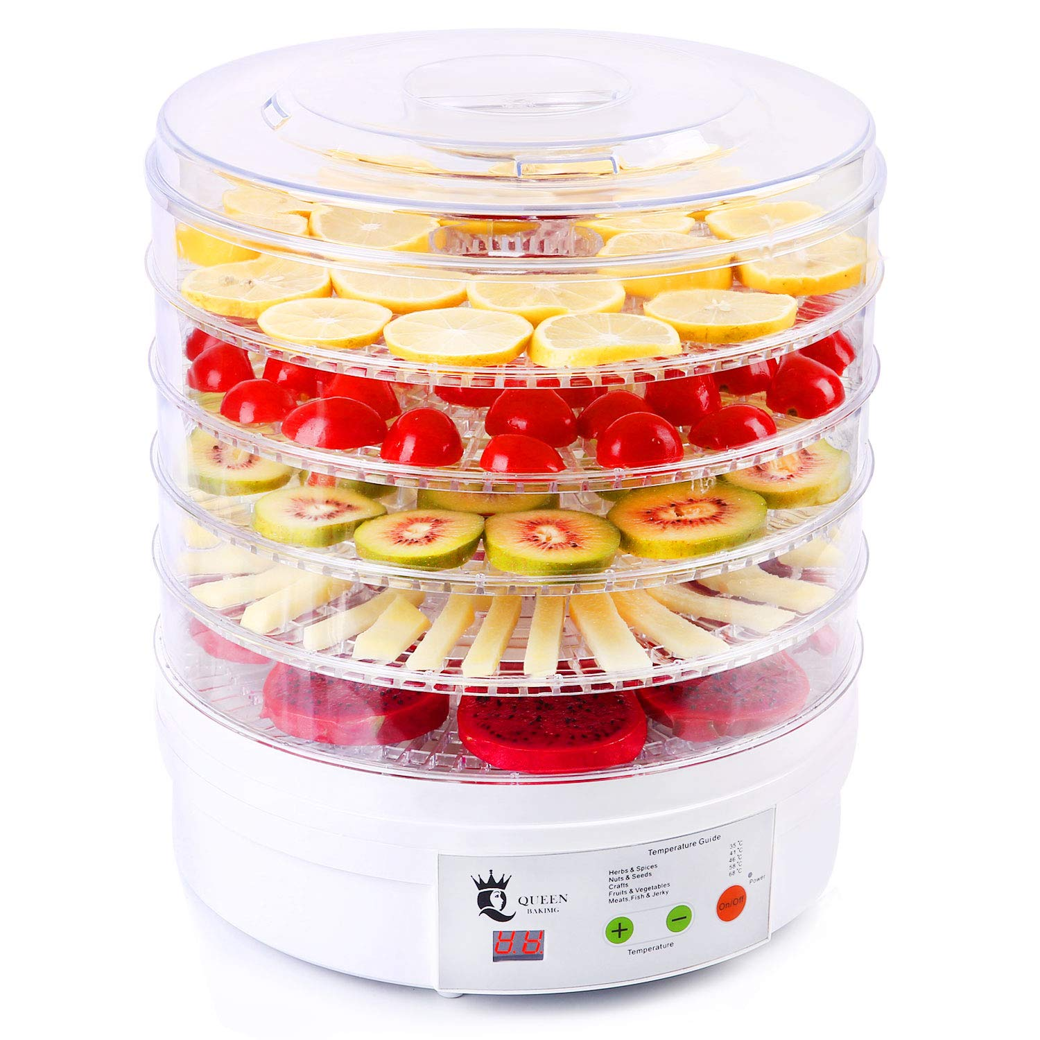 Newest Food Dehydrator, Professional Home Full Touch Digital Dehydrator With LED Temperature Timing Display, 5 Layers of Detachable Full Transparent Round Tray Without BPA, Suitable for Meat or Beef Jerky, Fruits and Vegetables, Etc.