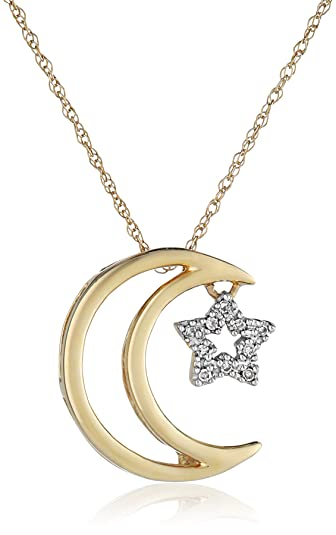 Amazon 14k yellow gold moon and star diamond pendant necklace 14k yellow gold moon and star diamond pendant necklace 18quot aloadofball Choice Image