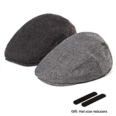 LADYBRO Black+Grey Tweed Newsboy Cap - Retro Wool Hat for Boy Men Flat Cap 1b03d3e2965a