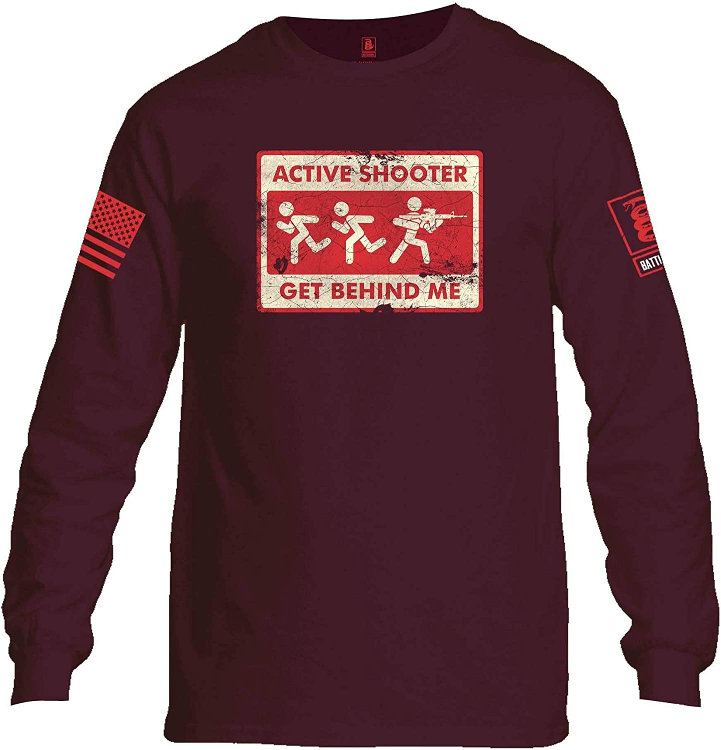 Battleraddle Active Shooter Get Behind Me Red Sleeve Print Mens Cotton Long Sleeve Crew Neck T Shirt