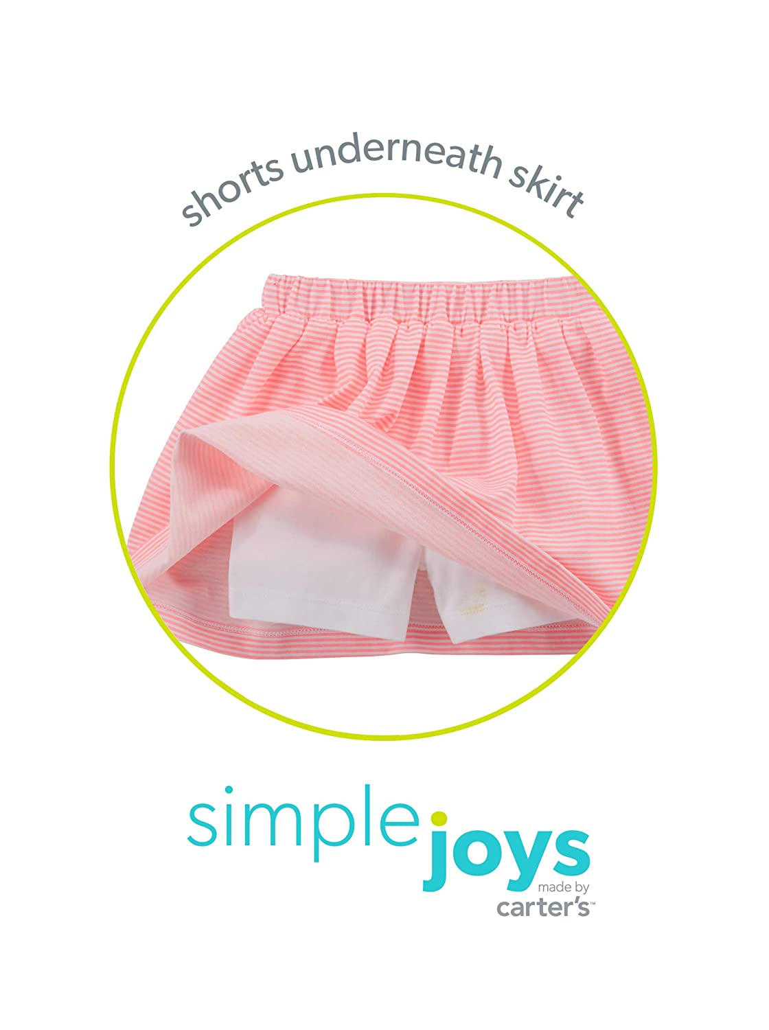 Simple Joys by Carters Toddler Girls 2-Pack Knit Scooters Carter/'s Simple Joys Private Label 2PKSCOOTER skirt with built-in shorts