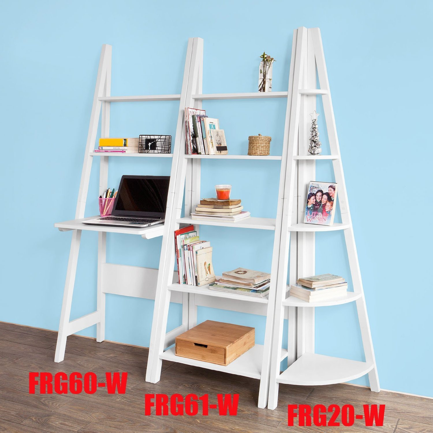 Sobuy® Ladder Style Shelving Storage Display Units & Desk, Wall Shelf  Bookcase (frg20w, 5 Tiers Triangle Corner Shelf): Amazon: Kitchen &  Home