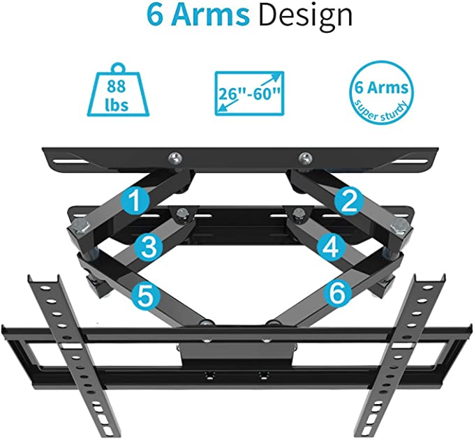 CHARMOUNT TV Wall Mount Bracket Full Motion Premium Dual Swivel Articulating Arms for Most 32-60 inch 4K OLED Flat Panel Curved Screen TVs Heavy Duty Design 26-55 Inch Full Motion Fixed TV Mount Max VESA 400x400mm 110lbs 16 inch Studs