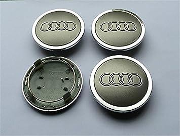 ianzhus Juego de 4 piezas tapacubos grises para Audi de 69 mm de aleación, tapa