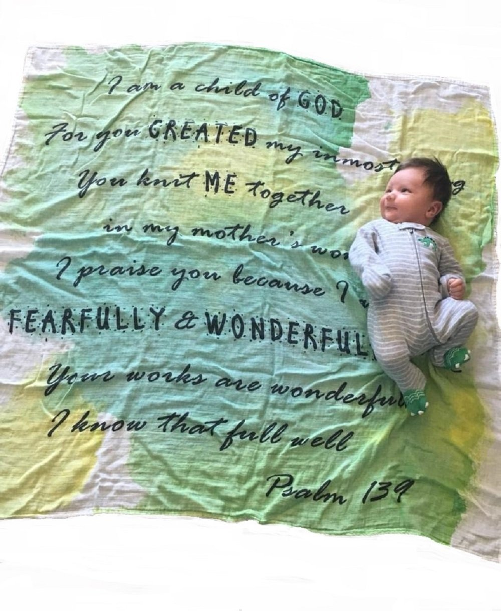 Child of God Swaddle - Psalm 139 - Baptism Gifts for Baby - 47''x47'' - Bamboo and Cotton - Unisex Gender Neutral Baby Gift - Muslin Swaddle Blanket Non-Toxic - God Child Gift