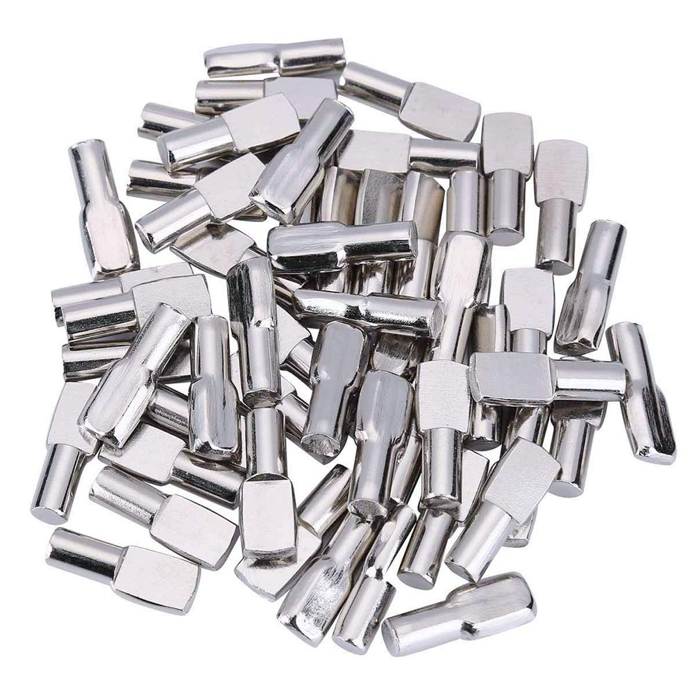 EuTengHao 60 Pieces Shelf Pins 5mm Flat Spoon Style Cabinet Furniture Shelf Support Pegs Fit for 5mm Hole Closet Shelf Pegs Nickel Plated
