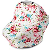 Nursing Cover, Car Seat Canopy, Shopping Cart, High Chair, Stroller and Carseat Covers for Girls- Best Stretchy Infinity Scarf and Shawl- Multi Use Breastfeeding Cover up- Vintage White Floral
