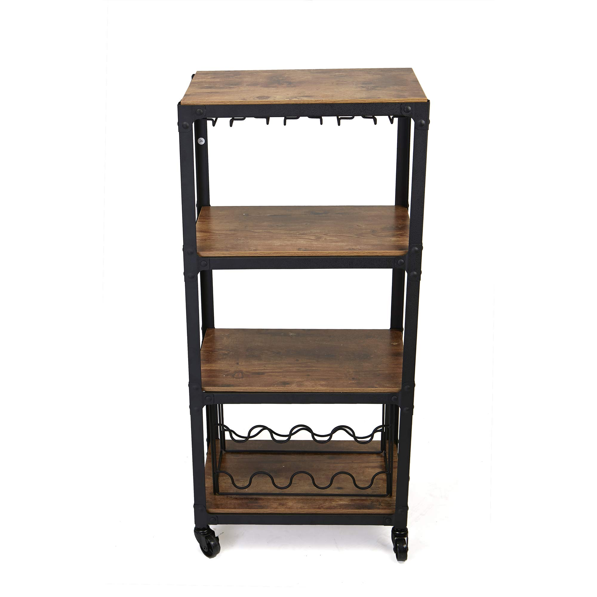 Mind Reader Mobile Kitchen Cart with Wine Rack and Stemware Storage, Black by Mind Reader