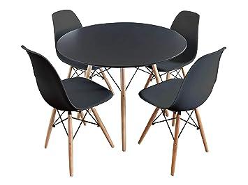Mirjan24 Essgruppe, Tisch Fiorino Runde + 4X Stühle Fiore, Esstisch ...
