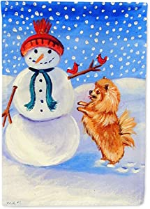 Caroline's Treasures 7151GF Snowman with Pomeranian Winter Snowman Flag Garden Size, Small, Multicolor