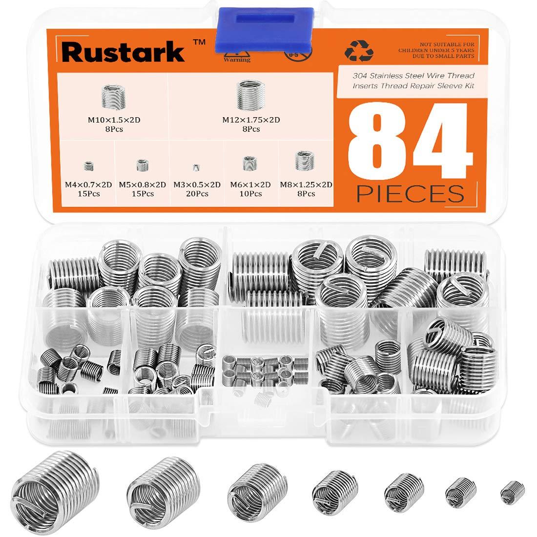 Rustark 84 Pcs 304 Stainless Steel Metric M3 M4 M5 M6 M8 M10 M12 Wire Thread Inserts Steel Sheath Helicoil Type Screw Repair Sleeve Assortment Kit