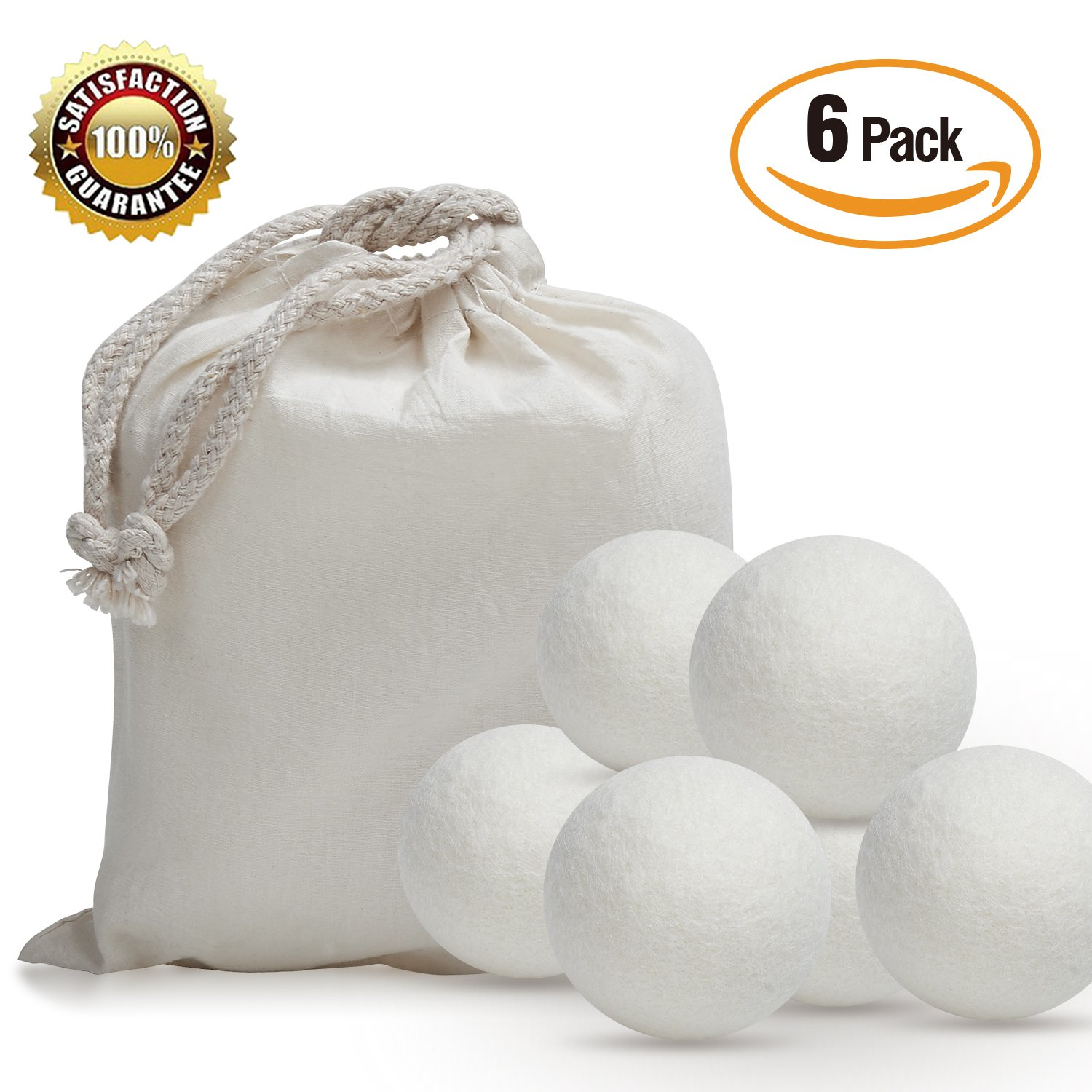 iPrimio Wool Dryer Balls – 6 Pack XL Reusable Eco-friendly Natural Fabric Softener – Reduces Dry Time, Non-Toxic and Chemical Free – Alternative to Plastic Balls